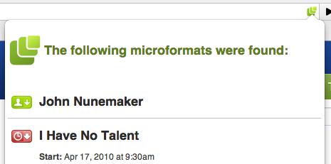 Chrome + microformats = michromeformats